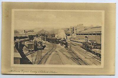 C.1912 Pt Pu Postcard Melbourne Express Leaving Adelaide Railway Station Sa O96.