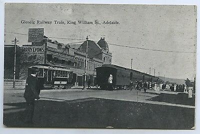 C.1913 Pt Pu Postcard Glenelg Train Arriving King William St Adelaide Sa O99.