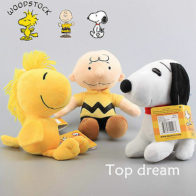 PEANUTS Snoopy Woodstock Charlie Brown Plush Cuddly Soft Toy Doll Teddy 8''