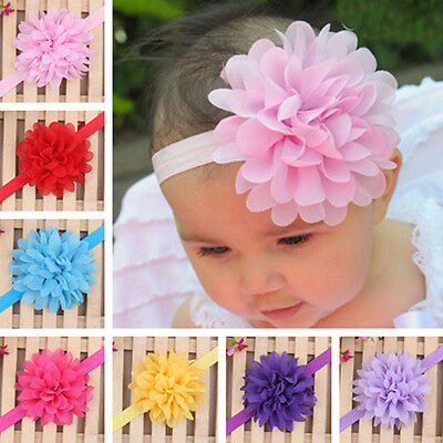 Lovely Baby Girls Infant Toddler Headband Lace Flower Bow Headwear Hair Band Hot