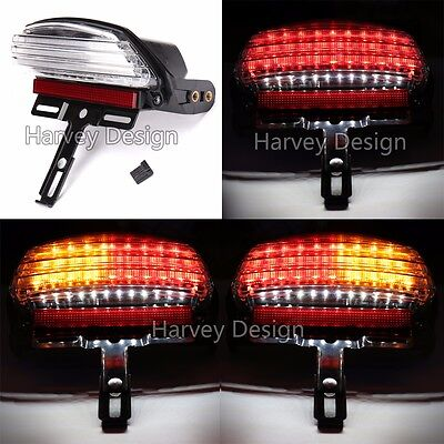 White Tri-Bar Fender LED Tail Light Signal For Harley Softail 06-11  FXSTC FXSTB