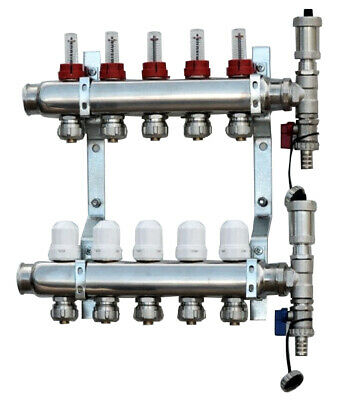Brass Underfloor Heating Manifolds 2-12 Ports