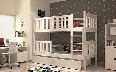 Kuba White Bunk Beds Kids  Childrens With Free Mattresses And Storage Drawers