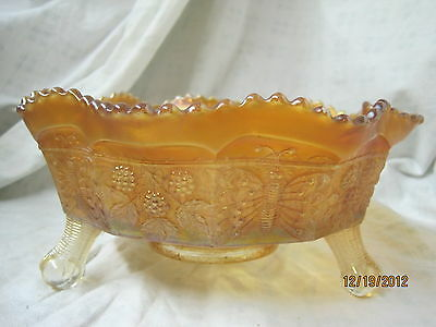 Vintage Fenton carnival glass Berry bowl Panther and Butterflies Marigold