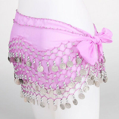 3 Rows Belly Dance Hip Skirt Scarf Wrap Belt with Silver Coins Light Purple US
