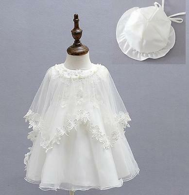 3pc Baby Newborn Girls Flower Party Baptism Christening Occasion Dress Gown Cape