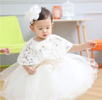 2pc Baby Newborn Girls Flower Party Baptism Christening Occasion Dress Gown Cape
