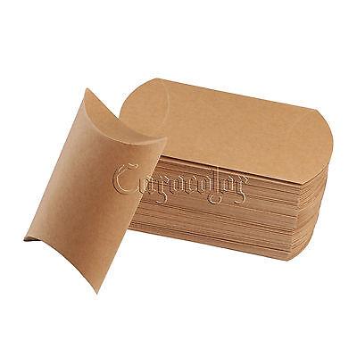 Cute Kraft Paper Pillow favor Box Wedding Party Favour Gift Candy Boxes 2 Sizes