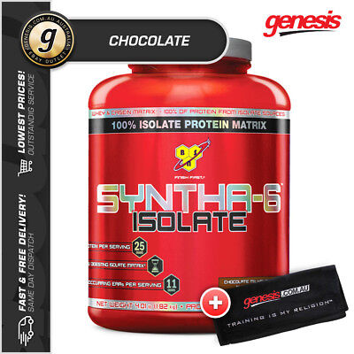 BSN SYNTHA 6 ISOLATE *4LB CHOCOLATE* Hydrolysed Whey Protein Powder WPI + Shaker