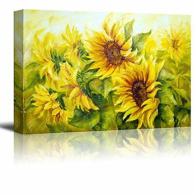 "Wall26 Canvas Prints Wall Art - Sunflowers in Oil Painting Style - 24"" x 36"""