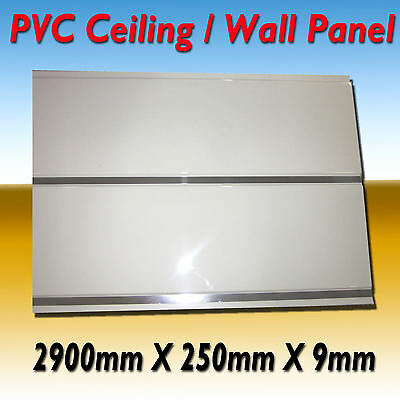 10X Pvc Wall / Ceiling Panel Water Resistance 2900 X 250 X 9 Gloss White Silver