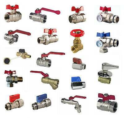 """BALL VALVE red handle / butterfly F/F, M/F, Screw Connection, 1/2"""" - 3/4"""" - 1"""""""