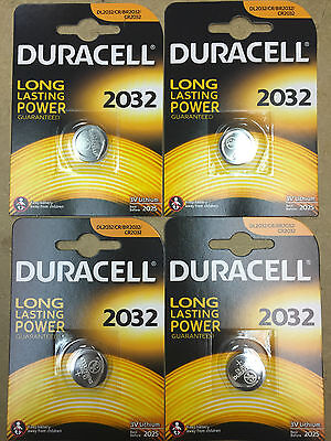 4 X Duracell CR2032 3V Lithium Button Battery Coin Cell DL2032 Expiry 2025