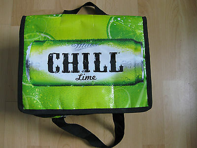 NEW Miller Chill Lime Beer square portable cooler for cans Silver thermal ins.