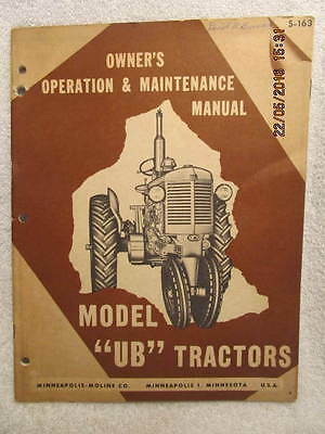Vtg. Minneapolis-Moline Model UB Tractors Owner's Operation & Maintenance Manual