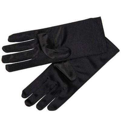 Wrist Length Black Satin Evening Gloves Audrey Hepburn Opera Prom Formal Costume