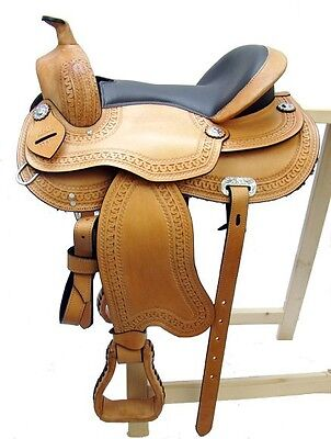 "Treeless Western Saddle ""TULSA"", Beige, Full Quarter, New, Leather"