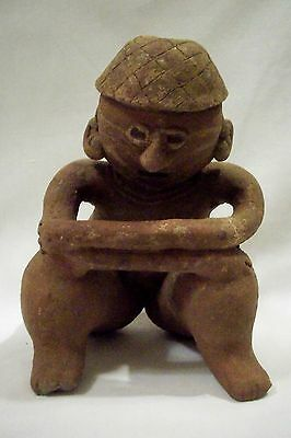 Pre-Columbian Nayarit Seated Pottery Figure With Arms Crossed
