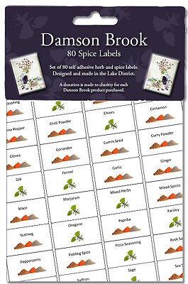 Damson Brook Herb & Spice Labels - Pack of 80 Spice Jar Storage Stickers