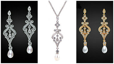 Vintage Style White Gold Plated Pearl Cubic Zirconia Luxury Bridal Drop Earrings