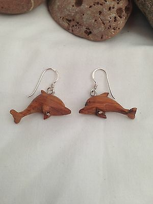 Hand Made Wood 'Dolphin' Earrings- Stunning -Free P & P-UK