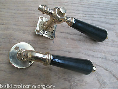 Vintage Solid brass & Black Porcelain Ceramic Door mortice Handles lever on rose