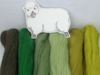 MERINO WOODLAND GREEN SHADES dyed wool tops / roving / needle felting  60g
