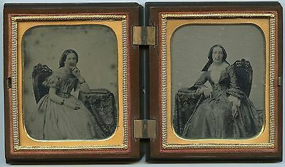 Victorian Women, Fashion Boat Neck Dress, Vintage Ambrotype Photos in Union Case