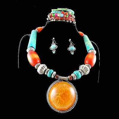 Solid Indian amber & turqoise necklace with large pendant + bracelet & earrings