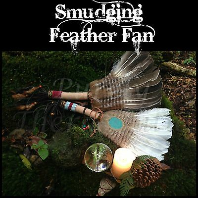 ~LARGE SMUDGING FEATHER FAN~Wicca, Healing, Smudge, Cleansing, Pagan, Reiki