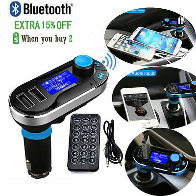 Newest Bluetooth Car Kit MP3 Player FM Transmitter SD LCD Dual USB Charger Blue