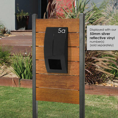 HENDON MERBAU REAL TIMBER Panel Letterbox + BLACK CURVED Front Mail box EASY DIY