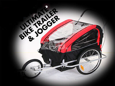 Bicycle Trailer Bike Jogger Double Buggy 2Seat For Baby Child Kids - Red
