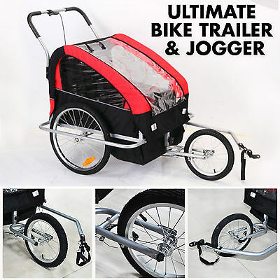 AU Kid Bike Trailer Bicyle Stroller Jogger 2Child Carrier Foldable Cycling Steel