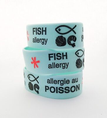 Fish Allergy Alert 100% Silicone Wristband Medical Id