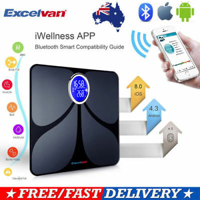Excelvan 180KG Bluetooth Digital Bathroom Weight Scale Body Fat BMI Water Muscle