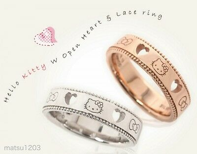 Hello Kitty Open Heart & Lace Ring Silver925 Free tracking ship Japan