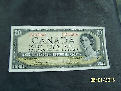 1954 $20 Dollar Bank of Canada note Devil's face Coyne-Towers A/E 6743040