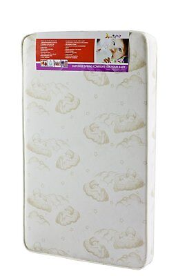 "Dream On Me Portable CRIB MATTRESS, 3"" Spring Coil BABY MATTRESS, White/Brown"