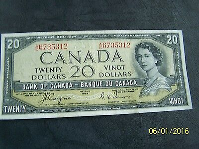 1954 $20 Dollar Bank of Canada note Devil's face Coyne-Towers A/E 6735312