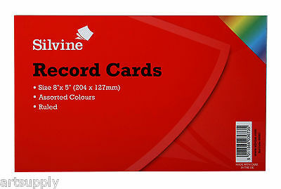 Revision/Flash/Index Silvine Record Cards - Coloured/Ruled Pack of 100/FREE P&P