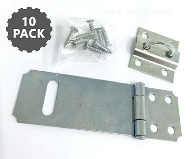 10 Hinged Security Hasp Latches for Padlock Gate,Cabinet Zinc - Military Grade