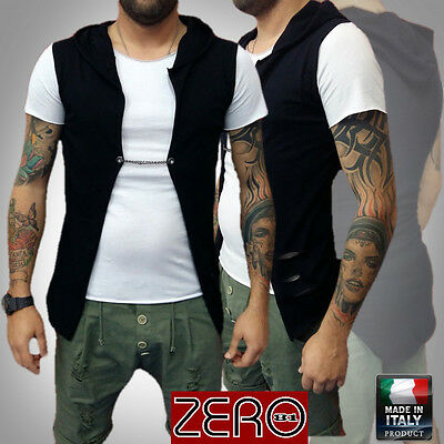 UOMO T-SHIRT+GILET' CAPPUCCIO TATTOO HIPSTER Slim Vintage ITALY giacca S,M,L,XL