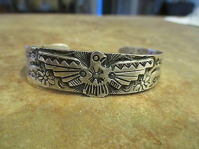 OLD Fred Harvey Sterling Silver Applied THUNDERBIRD Cuff Bracelet   1930's