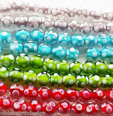 Large Glass Lampwork Beads Red Lilac Blue Green White Polka Dot 16mm
