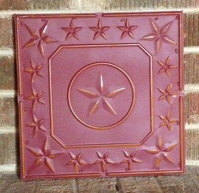 "12"" x 12"" EMBOSSED MOUNTED CEILING TIN TILE TEXAS LONE STAR STATE STARS RED"