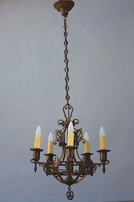 1920s Bronze 5 Light Antique Crest Chandelier Fits Spanish Revival Tudor (9248)