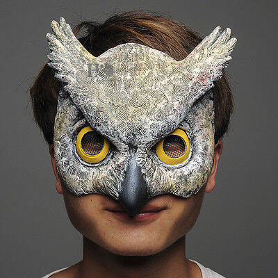 Scary Latex Half Face Owl Halloween Mask Masquerade Party Costume Cosplay Props