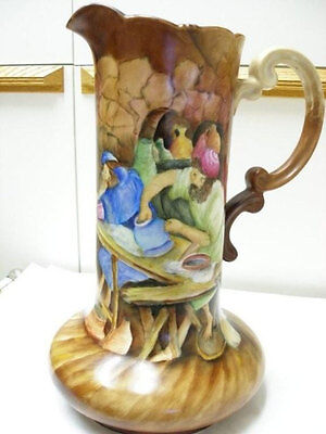 ANTIQUE JAR PITCHER WATER JUG OLD WORLD Hand Painted by Cramer