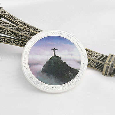 Brazil Rio Olympic Games Jesus Mountain Corcovado Silver Plated Collection Coin